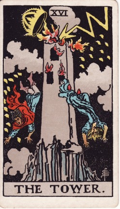 The Tower as illustrated in Raider-White Tarot Deck