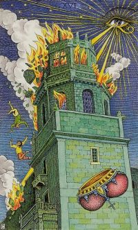 The Tower as illustrated in the Cosmic Tarot Deck