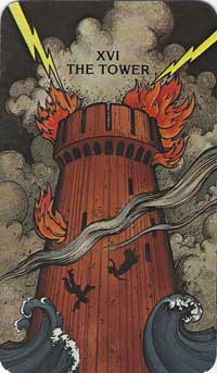 The Tower as illustrated in the Morgan Greer Tarot Deck